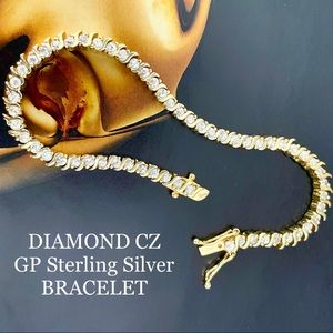 GOLD PLATED CZ DIAMOND LINE TENNIS BRACELET 925